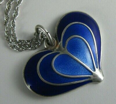 Vintage DAVID ANDERSEN Sterling Blue Guilloche Enamel Heart Pendant Norway