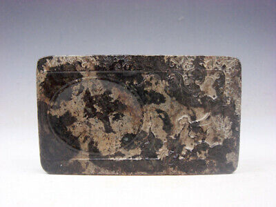 Vintage Nephrite Jade Stone Ink Slab Shaped Paperweight Plum Blossoms #06251903