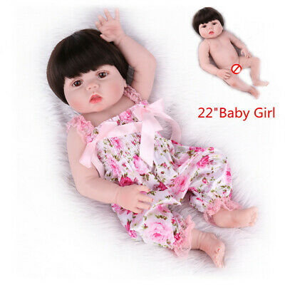 "22""Reborn Baby Dolls Full Body Vinyl Silicone Newborn Anatomically Girl Gift Toy"