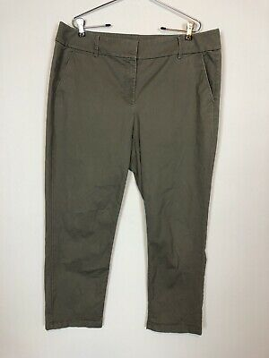 Ann Taylor LOFT Julie Style Green Cotton Career Chinos Ankle Pants Women Size 14