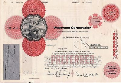 Stock certificate Westvaco Corporation Less Than 100 Shares State of Delaware