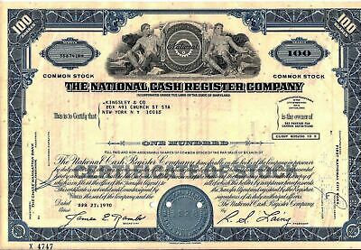 National Cash Register Company Stock Certificate 100 Shares State of Maryland