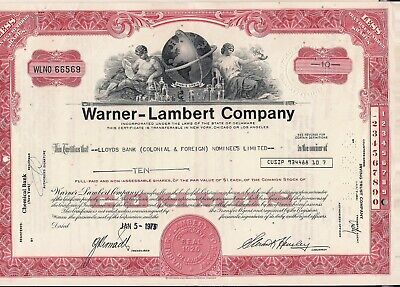 Stock certificate Warner-Lambert Company to Lloyds bank (Colonial & Foreign)