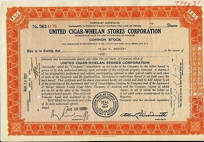 Stock certificate United Cigar-Whelan Stores Corp. 1937