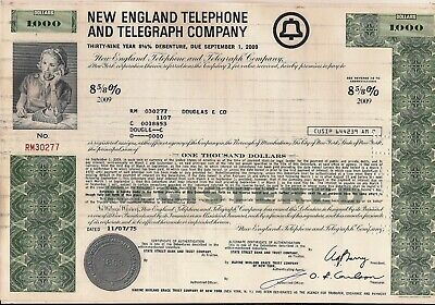 New England Telephone & Telegraph Company $1000 bond dated 1975