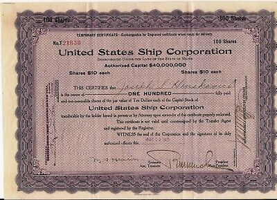 Stock certificate United States Ship Corporation 1921 Main