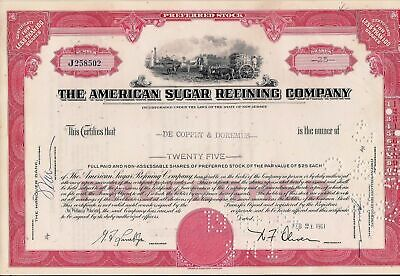 Stock certificate American Sugar Refining Company cancelled
