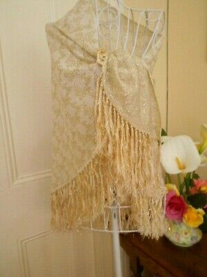 Vintage Evening Shawl/Wrap With Gold Metallic  Thread Made In England