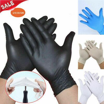 100Pcs Disposable Mechanic Nitrile Gloves Rubber Comfortable Black Exam S/M/L