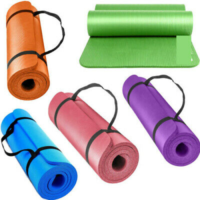 Yoga Mat for Pilates Gym Exercise Carry Strap 15mm Thick Large Comfortable US