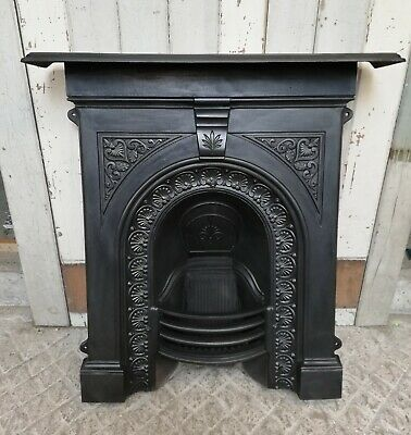 An Attractive Late Victorian Antique Cast Iron Combination Fire Fc0078