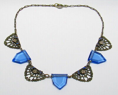 OLD Art Deco 1920s Enamel Silver Copper Blue Austrian Glass Floral Necklace 15""