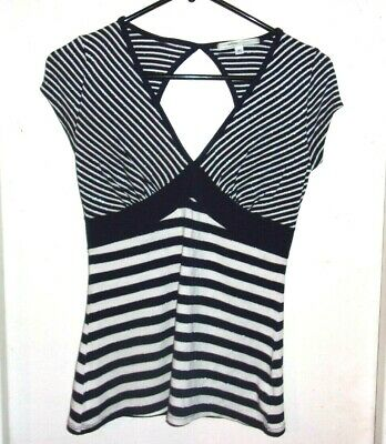 Hot Kiss Blue White Silver Striped Short Sleeve Top M