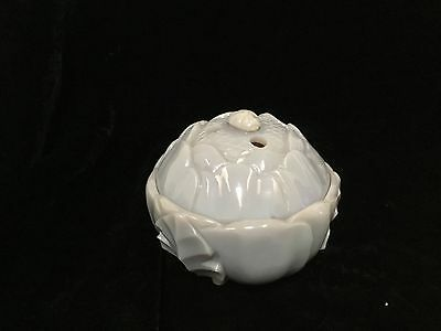 "antique Chinese carved translucent gray stone lotus form  box 3.5"" 19thc Qing"