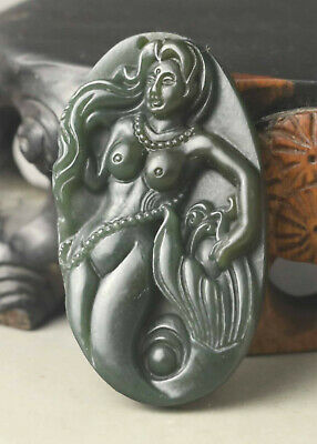 China old natural jade hand-carved beauty pendant