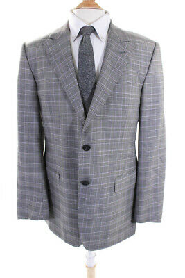 Versace Collection Mens Two Button Plaid Wool Blazer Suit Jacket Gray Size 52