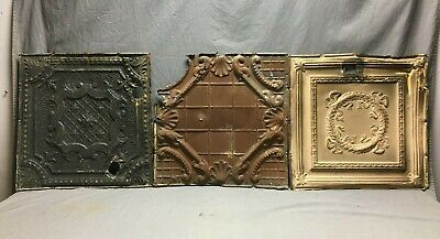 "Lot of 3 Antique Tin Metal Ceiling 24""x24"" Crafts Art Projects Vtg 273-20B"