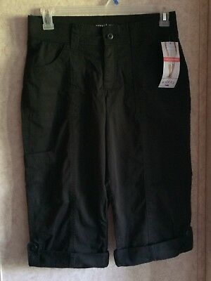 Riders Womens Capris Cargo Super Stretch Waist Skimmers New Size 10 Black Mid