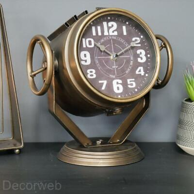 Searchlight Mantle Clock Industrial Metal Nautical Retro Urban Old Gold Themed