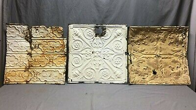 "Lot of 3 Antique Tin Metal Ceiling 24""x24"" Crafts Art Projects Vtg 275-20B"