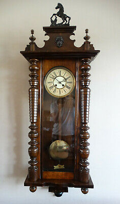 Antique Victorian Vienna Striking Wall Clock Solch & Jackel 8 Day Movement Horse