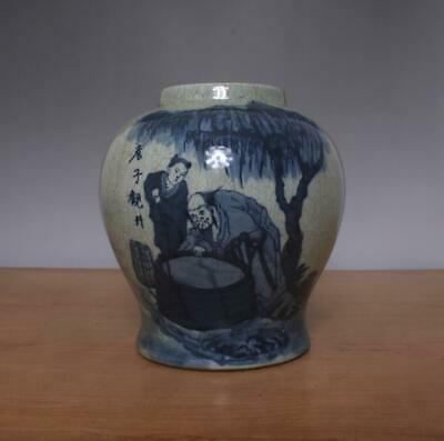 Wang Bu Signed Antique Chinese Blue & White Porcelain Pot Jar w/ Figure