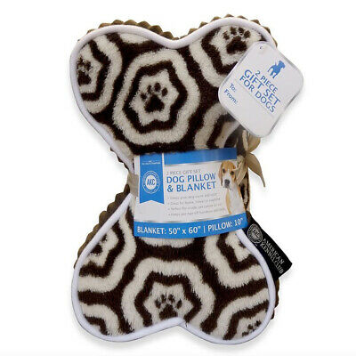 AKC Fleece Dog Pillow & Blanket Holiday Gift Set - Brown