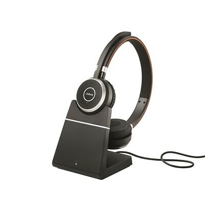 Jabra Evolve 65+ UC Stereo Office Call Centre Headphones With Charging Stand