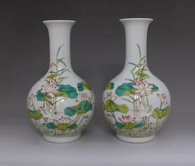 Old Rare Pair Chinese Famille Rose Porcelain Vases Qianlong Marked (E97)
