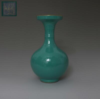 Exquisite Old Chinese Green Glaze Porcelain Vase Qianlong Marked (345)