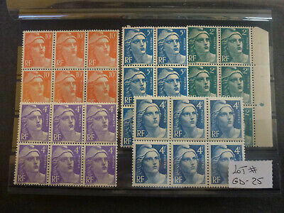 FRANCE Lot # GD-25 Timbres type Marianne de GANDON 5 Blocs x5 Neufs**
