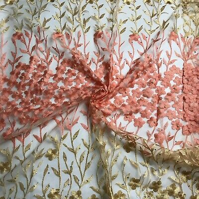 """4/"""" Vintage Organza Embroidered Lace Egyptian Tree Quilt Crafts By Yard #1812"""