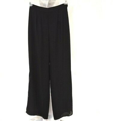 R&M Richards Wide Leg Pants Career Women Size 8 Black Sheer