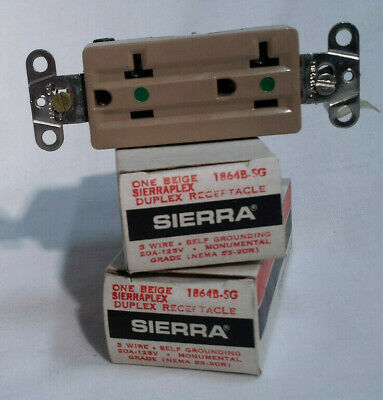3 DUPLEX RECEPTACLES 3-Wire Self Grounded  20A 125V Beige Sierra Electric ~ NOS