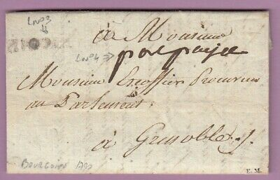 Marque Port Paye Bourgoin Isere Ln°3+N°4 1790 Grenoble Lettre Cover
