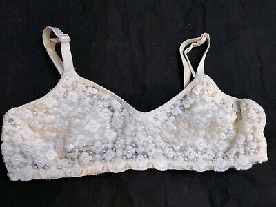 Vintage Sheer Mesh Lace White Floral Stretchy Nylon No Wire Bra 34C