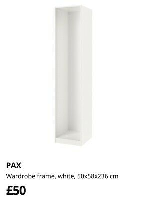 Pax Single Ikea Wardrobe Frame And 3x Shelves.