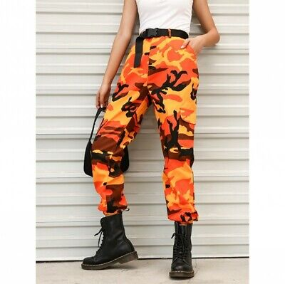 Street Women Camouflage Overalls Military Hiphop Pants American Dance Bottoms Nw