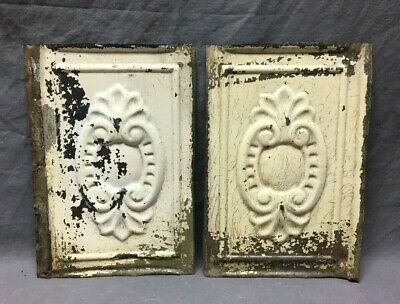 """Lot of 2 Antique Tin Metal Ceiling 8""""x12"""" Crafts Art Projects Vtg 278-20B"""