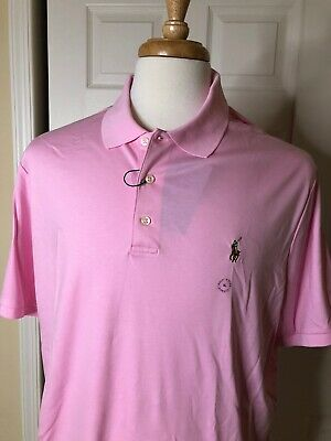 NEW Polo Ralph Lauren Mens XL Polo Shirt Classic Fit PINK Brown Pony Cotton