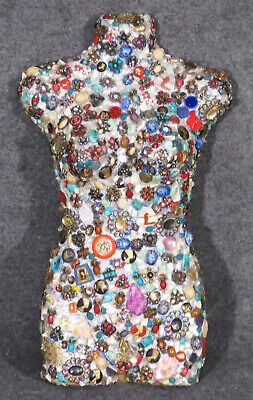 Rare & Unique Jeweled Mannequin Torso With Brootches Jewels Stones Pins C1960