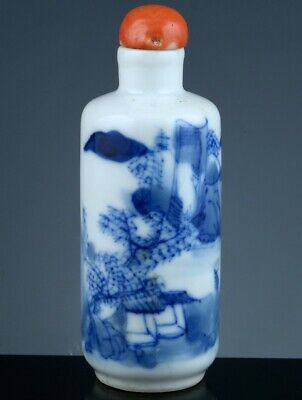 Antique 19Thc Chinese Qing Dynasty Blue & White Snuff Bottle Orange Coral Lid