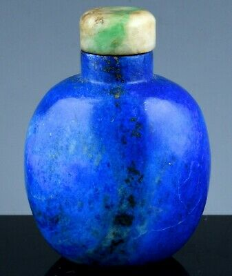 Vibrant Antique Chinese Carved Lapis Lazuli Stone Snuff Bottle Apple Jadeite Lid