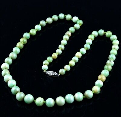 Fine Antique Chinese Apple Green Jadeite 14K White Gold Graduated Bead Necklace