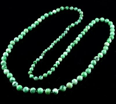 Fine Antique Chinese White & Apple Green Jadeite Jade Graduated Beaded Necklace