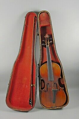 Antique French Violin Stamped BRETON Tiger Maple+Signed Bow Project Piece