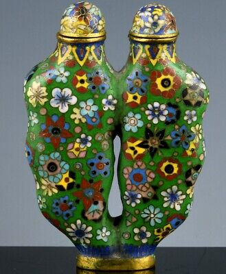 Great Rare 19Thc Chinese Cloisonne Enamel Gilt Bronze Double Snuff Bottle