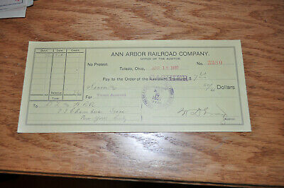 1907 Ann Arbor Railroad Co Toledo OH Bank Check to Delaware Lackawanna Western!!