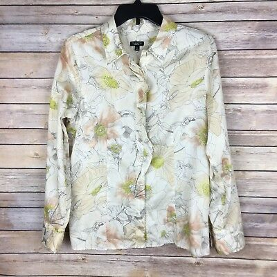 Talbots Women's Blouse Size 12 Beige Brown Green Floral Long Sleeve Ruffle