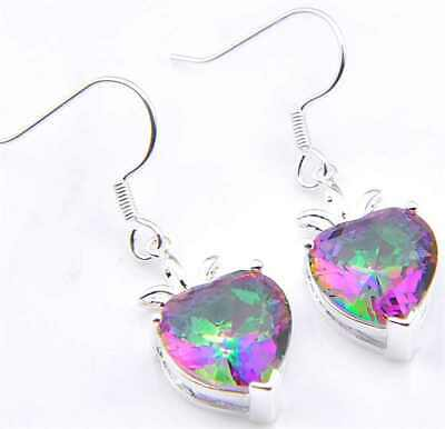 Natural heart-shaped Rainbow Topaz gemstone 925 silver Pendant Necklace